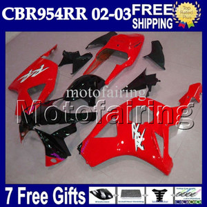 Wholesale honda 954 black red fairings for sale - Group buy Red black gifts For HONDA CBR954RR CBR900RR RR MF6772 Glossy red CBR RR CBR954 RR Free Customized Fairings