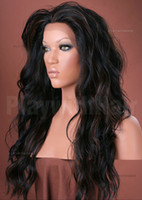 """Wholesale Hand Tie Wig Caps - XCSUNNY #1b 16""""-22"""" Wave Glueless Full Lace Front Human Hair Wigs 100% Indian Remy Hair Glueless Cap Lace Wigs Lace Front Wigs"""