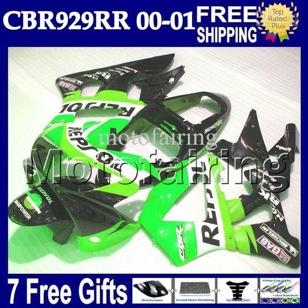 7gifts For HONDA 00 01 CBR 929 929RR CBR929RR 900RR green black Free Customized MF6556 CBR900RR 2000 2001 CBR929 RR ABS Repsol Green Fairing