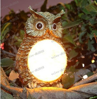 Wholesale Owl Solar Lights - LLFA2573 2013 New Resin Solar Owl Deco light 180x110x123mm