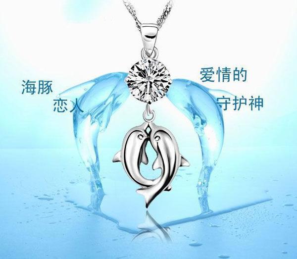 925 Colgante de plata esterlina Doble Dolphin Amantes Joyería Collar Colgante Cristal Colgante Europeo y Americano Vintage Joyería /