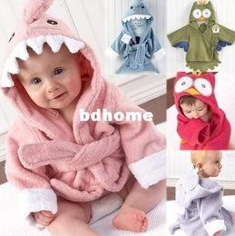 Wholesale Children Animal Robes - Retail boy girl Animal Baby bathrobe baby hooded bath towel kids bath terry children infant bathing baby robe GLADBABY