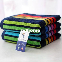 Wholesale Cheap Wholesale Face Towels - Free Shipping 100% Cotton Rainbow Cheap Face Towels Beach Towels Bathroom Hanging Bath Towels Washclothes Wholesale HT201321