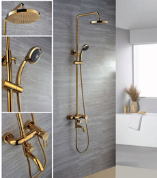 Wholesale Round Metal Tub - Free shipping 24k gold clour Rainfall shower and tub faucet rainfall shower bar faucet