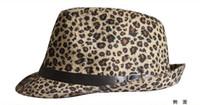 Wholesale Small Brim Hats Men - Adult Leopard printed Fedora Hat Short Brim Warm Cap British Style Adult Fedora Women Small Brim Hats Unsiex Brown Fedora Wit Black Belt