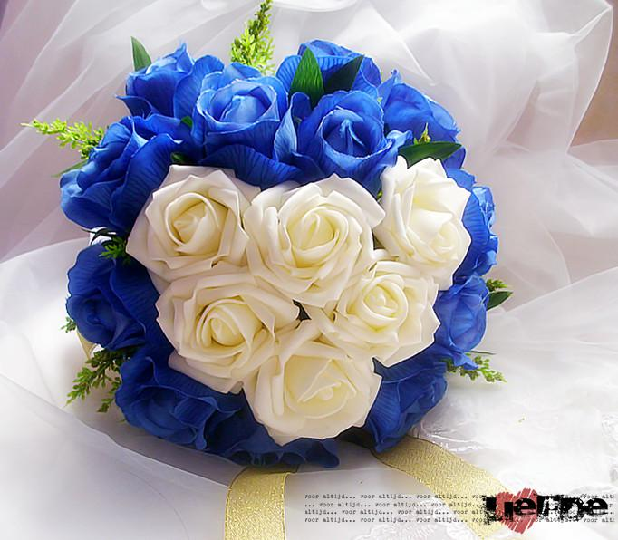 Blue White Noble Rose Flower Bouquet With Golden Ribbon Artificial