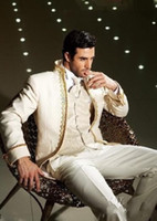 men ivory vest 도매-베스트 셀러 아이보리 신랑 턱시도 남자 브로치 정장 남자 웨딩 정장 신랑 정장 (자켓 + 바지 + 조끼 + 넥타이) NO : 118
