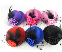 Wholesale Burlesque Fascinator - 20% Discount Off Feather Rose Mini Top Hat Fascinator Hair Clip Burlesque Hen Party Costume 3