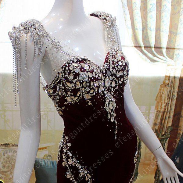 Реальные фото 2019 Гламурная шапка с рукавами милая хрустальная русалка Вечерние платья Платья для выпускного вечера model04