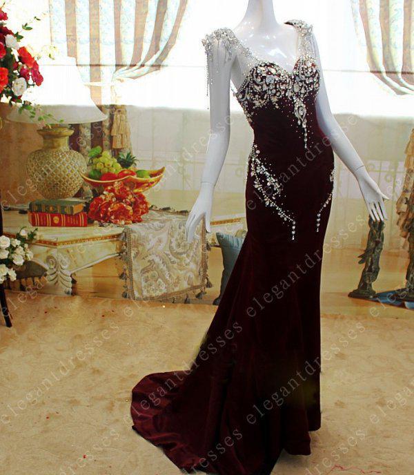 Foto reali 2019 Maniche glamour con maniche sweetheart crystal mermaid Abiti da sera Abiti da ballo modello04