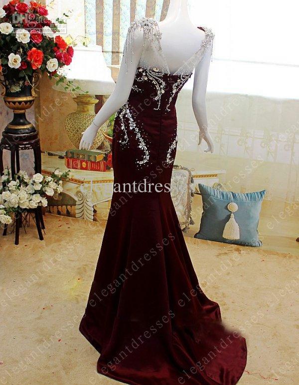 Fotos reales 2019 Glamorosa gorra mangas cariño cristal sirena Vestidos de noche Vestidos de baile modelo04