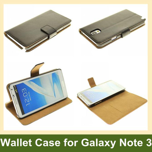 Wholesale Genuine Leather Flip Case for Samsung Galaxy Note 3 Wallet Case for Samsung Galaxy Note 3 with Folding Function Free Shipping