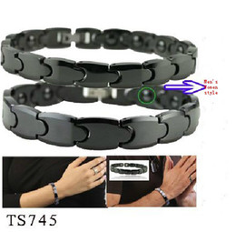 Wholesale Tungsten Magnetic Black Bracelet - XMAS GIFT Fashion black Health magnetic Tungsten steel bangle Bracelet for Women Men Jewely