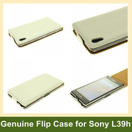 Wholesale Genuine Leather L39h - Wholesale New Black White Genuine Leather Flip Cover Case for Sony Xperia Z1 L39h Free Shipping