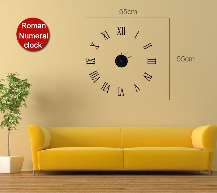 Funlife 55cm Round22wall Clock Decal Kit Vinyl Wall Clock