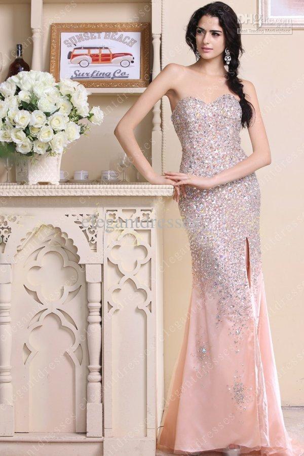Meistverkaufte 2019 inspiriert Perlen Kristall Meerjungfrau mit Schlitz Schatz trägerlosen Splitter Prom Kleider Abendkleider mit Reißverschluss Modell 015