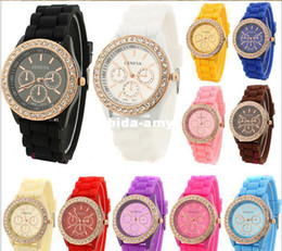 Wholesale Crystal Watch Silicone Band - 10pcs Geneva New Crystal edge Watch Jelly Watch Three circles Display Silicone Strap Band Candy Color Unisex Men Women Dropship