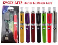 Wholesale E Cig Retail Packaging - MT3 EVOD Ego Starter Kit Electronic Cigarette kits E Cig kits E Cigarette Blister Pack 900mah With Retailing Package all colors 20pcs