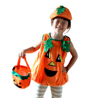 Wholesale Halloween Pumkin - Kids Pumkin clothing suits pumkin clothes+hat Children costume party clothes Halloween costume Performance costume Apperal