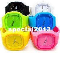 Wholesale Silica Gel Candy - F03669 Fashion Zgo quartz watch candy color rhinestone jelly table resin silica gel watches Sport watch 6032 Gift