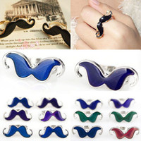 Wholesale Celtic Mustache - 20Pcs Moustache Finger Rings Lovely Popular Handlebar Mustache Charm Mood Change Color Adjustable Moustache Rings Jewelry [JR17012*20]