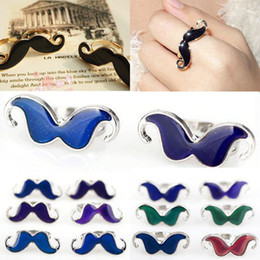 Wholesale Wholesale Mustache Jewelry - 20Pcs Moustache Finger Rings Lovely Popular Handlebar Mustache Charm Mood Change Color Adjustable Moustache Rings Jewelry [JR17012*20]