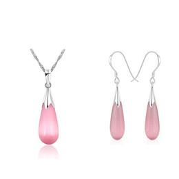 Venta al por mayor de plata Sistemas de la joyería de la forma de Waterdrop garantizado 100% sólido 925 sistemas de la joyería de la plata esterlina con el ópalo rosado 002 en venta