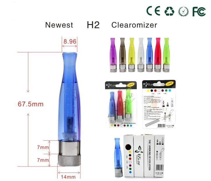 GS H2 atomizador GSH2 desmontable Clearomizer no Wick colores del arco iris Sustituir CE4 Cartomizer para EGO eGo-T W VV USB 510 batería