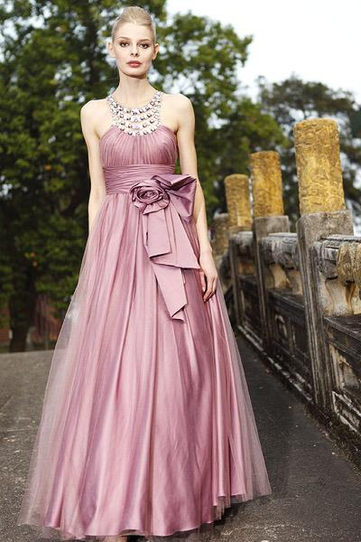 Beste Verkauf einer Linie Crew Bodenlangen Organza Kristall Perlen Falten Bogen Strand Prom Kleider Keyhole Zurück Abendkleider Sexy Abendkleider