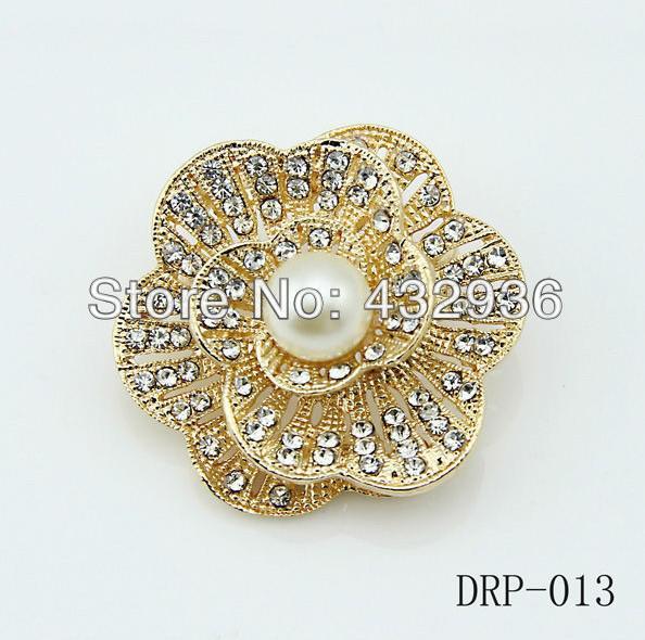 ローズゴールドメッキクリアラインストーンクリスタルダイヤモンフラワーブーケ結婚式ブローチピン