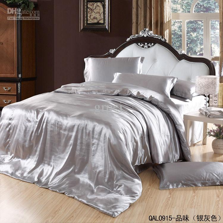 Grey Silver Silk Satin Bedding Set King Size Queen Quilt Duvet Cover