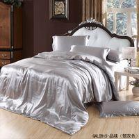 juegos de hoja gris tamaño gris al por mayor-Juego de cama de satén de seda de plata gris king size queen edredón funda nórdica cama en una bolsa de sábanas colcha dormitorio ropa de cama marca hogar texile