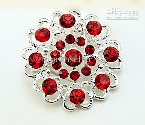Roter Strass Kristall Silber Herzhafte kleine Blume Brosche