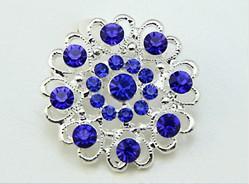 Versilbert Königsblau Strass Kristall Herzhafte kleine Blume Brosche