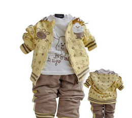 Wholesale Handsome Shirts - Wholesale - Handsome children clothes baby suits boy Leisure suit 3pc outerwear T-shirt pants kids outfit hoody