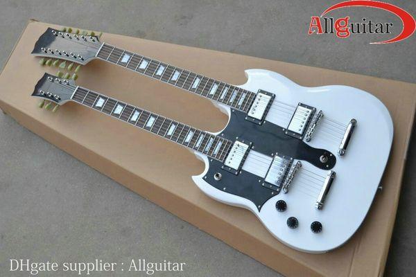 Левша двойной шеи 12 струн гитара Белый 1275 Левша электрогитара фарфора гитара