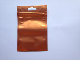Embalagem de plástico reciclável on-line-Frete Grátis orange + Limpar Aluminizing folha metálica zipper saco de plástico folha de alumínio Ziplock Bolsas sacos de embalagem Saco Reciclável 8.5 * 13 cm