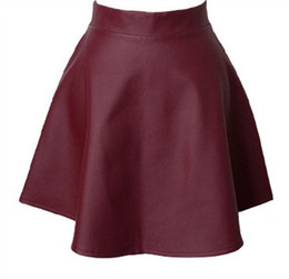 Wholesale Short Red Leather Skirt - 2014 Autumn Winter Women Burgundy Faux Leather Short Skirt Pleated Skirt Black Designer Hot Sale Vintage Retro Grils Casual Clothings