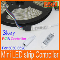 Wholesale Mini String Lights Free Shipping - Free shipping Mini Controller Dimmer for 5050 3528 RGB LED Strip string Light 12V 6A 3 Keys 19 modes 20 colors