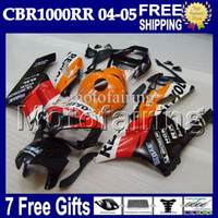 cbr repsol fairings toptan satış-7 hediyeler + Kovboy 100% HONDA CBR1000RR Repsol 04 Enjeksiyon Kalıp 05 MF7912 CBR 1000 1000RR CBR1000 RR 2004 2005 Fairing Turuncu kırmızı siyah Vücut