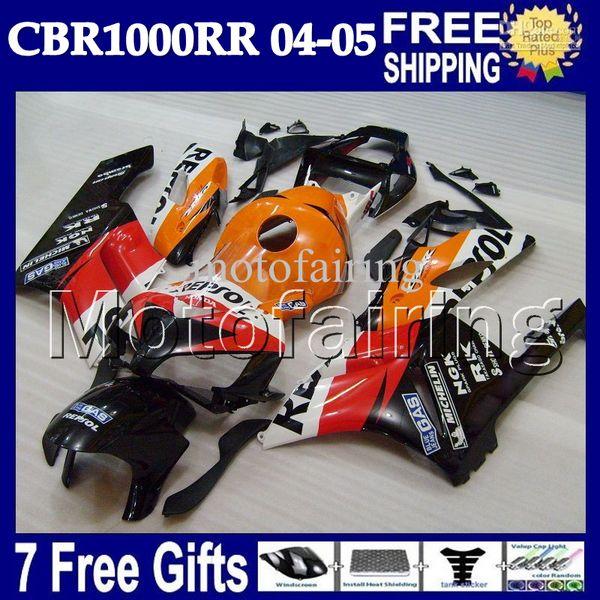 7gifts + Cowl 100% Spritzguss für HONDA CBR1000RR Repsol 04 05 MF7912 CBR 1000 1000RR CBR1000 RR 2004 2005 Verkleidung Orange rot schwarz Körper
