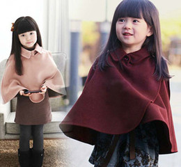 Wholesale Cute Red Winter Coats - Poncho Coat Baby Thick Cloaks Mantle Kids Clothes Girls Poncho Children Outwear Kids Cute Casual Coat Child Clothing Fashion Princess Poncho