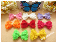 Wholesale Triple Hair Bows - 120pcs 3inch Triple rose Chiffon Bowknots Handmade Butterfly Bows for Hair Accessories Baby Girl 's Elastic Hair band
