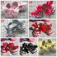 Wholesale Chevron Shoes - baby chevron shoes baby girls bow shoes Infant Toddler First Walk Shoes children shoes kids christmas Soft bottom shoes 7colors 30pairs lot