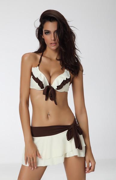 best selling wholesale---1628 Ivory White brown Bikini Skirt Swimsuit swimwear 3PC, size S M L XL 2XL