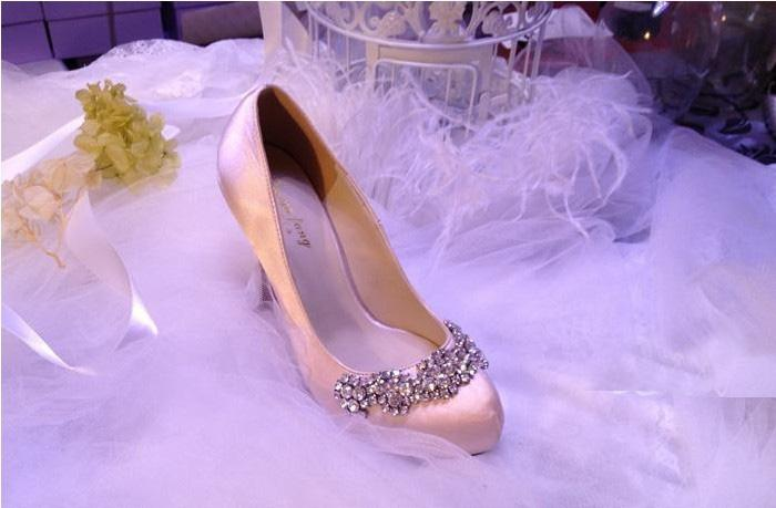 Autumn Bridal Dress Shoes Woman Satin Rhinestone Platform Pumps Wedding Evening Party High Heels Lady Formal Dress Shoes