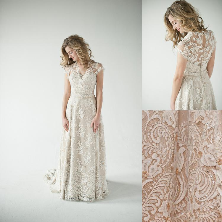 Discount 2015 New Lace Wedding Dresses V Neck A Line Short Sleeve ...