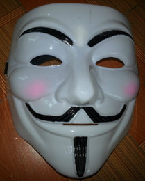 Wholesale Vendetta Dhl - Lowest Price V Mask Vendetta party mask Halloween Mask Party Face Mask Christmas Mask Super Scary 100pcs lot Free DHL FEDEX EMS