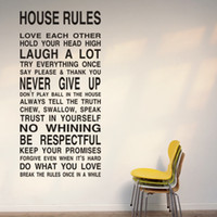 Wholesale House Rules Wall Art - Free Shipping HOUSE RULES -Large Wall Lettering Stickers Quotes and Sayings Home Art Decor Decal