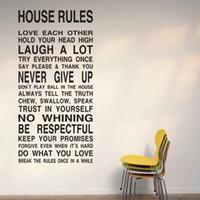 vinyl-gehäuse aufkleber großhandel-Kostenloser Versand HOUSE RULES - große Wand Schriftzug Aufkleber Zitate und Sprüche Home Art Decor Decal